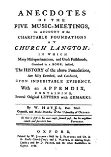 Anecdotes of the Five Music-Meetings: Anecdotes of the Five Music-Meetings by William Hayes