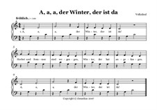 A, a, a, der Winter, der ist da: Fr Akkordeon Solo MIII (leicht) by folklore