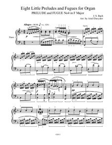Little Preludes and Fugues, BWV 553–560: Prelude and Fugue in F Major. Arrangement for piano by Johann Sebastian Bach