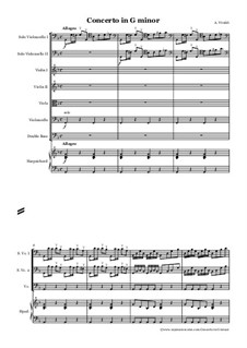 Concerto for Two Cellos and Strings in G Minor, RV 531: Full score by Antonio Vivaldi