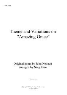 Amazing Grace: For violin by folklore