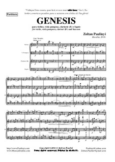 Genesis (2010) for violin, viola pomposa, clarinet, bassoon: Genesis (2010) for violin, viola pomposa, clarinet, bassoon by Zoltan Paulinyi