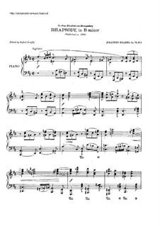 Two Rhapsodies, Op.79: Rhapsody No.1 by Johannes Brahms