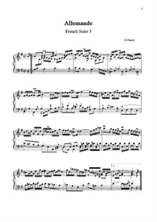 Suite No.5 in G Major, BWV 816: Allemande by Johann Sebastian Bach