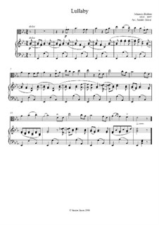 No.4 Cradle Song: For viola and piano by Johannes Brahms