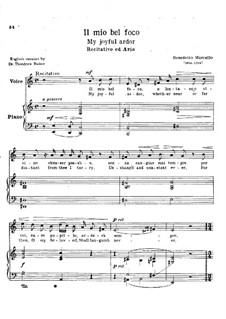Il mio bel foco: Piano-vocal score by Benedetto Marcello