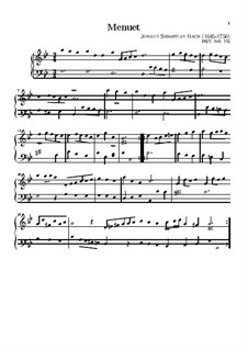 No.5 Minuet in G Minor, BWV Anh.115: For keyboard by Johann Sebastian Bach