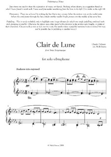 No.3 Clair de lune: For vibraphone by Claude Debussy