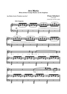 Ave Maria, D.839 Op.52 No.6: For voice and piano in B Flat Major  (high quality sheet music) by Franz Schubert