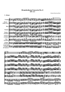 Brandenburg Concerto No.2 in F Major, BWV 1047: Full score by Johann Sebastian Bach