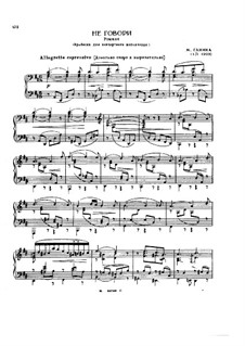 Transcription on 'Do Not Speak' by Glinka: Transcription on 'Do Not Speak' by Glinka by Mily Balakirev