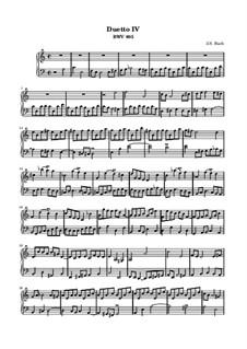 Duet No.4 in A Minor, BWV 805: For keyboard by Johann Sebastian Bach
