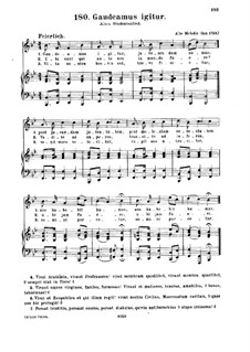 Gaudeamus igitur (So Let us Rejoice): For voice and piano by Unknown (works before 1850)