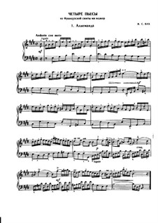Suite No.6 in E Major, BWV 817: Movements I, VI, III, IV by Johann Sebastian Bach