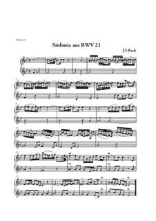 Ich hatte viel Bekümmernis, BWV 21: Sinfonia – Violins I, II Part by Johann Sebastian Bach
