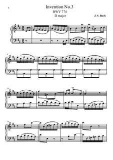 No.3 in D Major, BWV 774: For piano by Johann Sebastian Bach