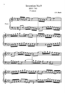 No.9 in F Minor, BWV 780: For piano by Johann Sebastian Bach