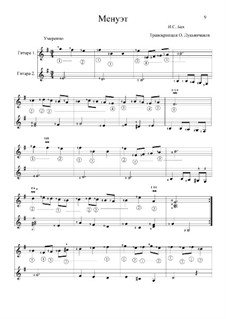 No.5 Minuet in G Minor, BWV Anh.115: For two guitars by Johann Sebastian Bach