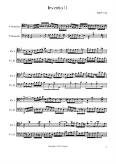 No.11 in G Minor, BWV 782: For two cellos by Johann Sebastian Bach