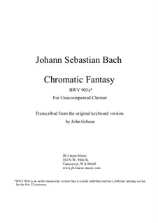 Chromatic Fantasia in D Minor, BWV 903a: Version for solo (unaccompanied) clarinet by Johann Sebastian Bach