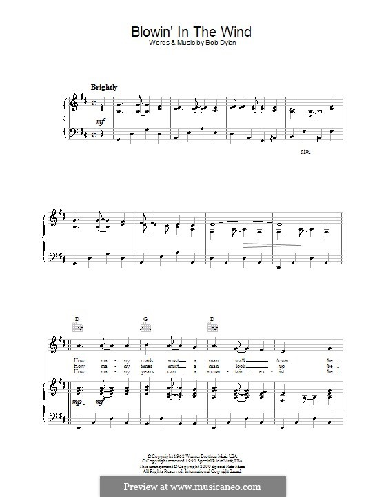 Blowin' in the Wind: For voice and piano (or guitar) by Bob Dylan