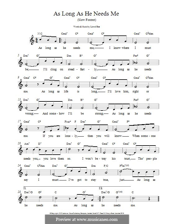 As long as he needs me from oliver by l bart sheet music on