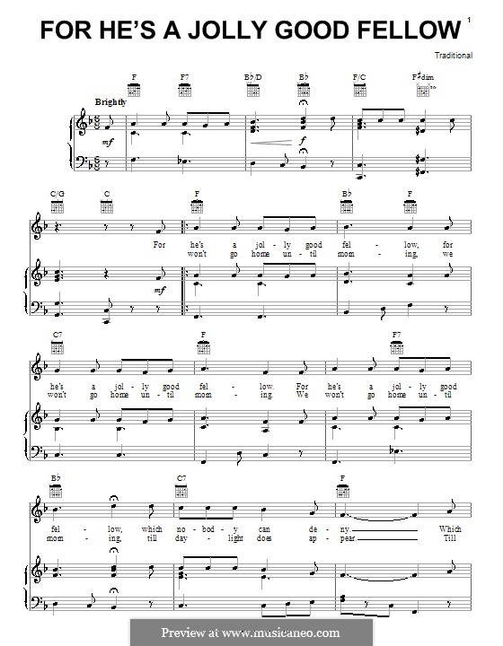 For He's a Jolly Good Fellow: For voice and piano (or guitar) by folklore