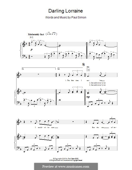 Darling Lorraine: For voice and piano (or guitar) by Paul Simon