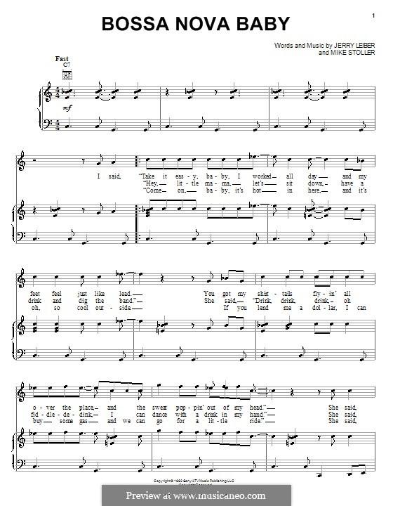 Piano bossa nova piano chords : Bossa Nova Baby (Elvis Presley) by J. Leiber, M. Stoller on MusicaNeo