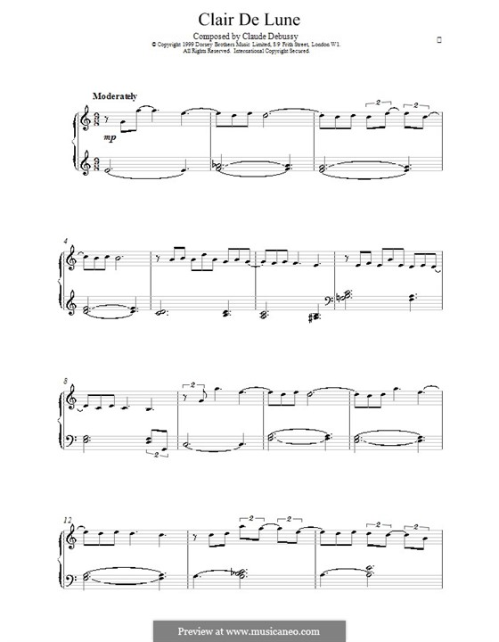 No.3 Clair de lune, for Piano: Version for easy piano by Claude Debussy