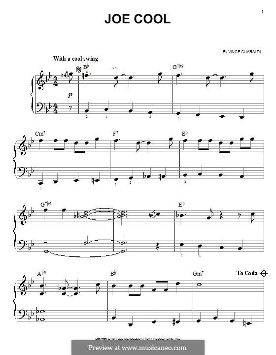 Joe cool: for easy piano by vince guaraldi