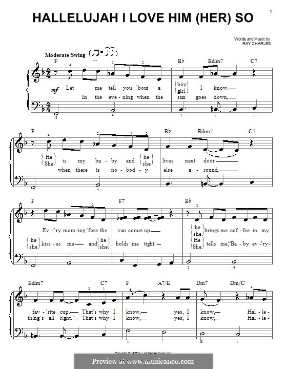 Hallelujah I Love Her So By R Charles Sheet Music On