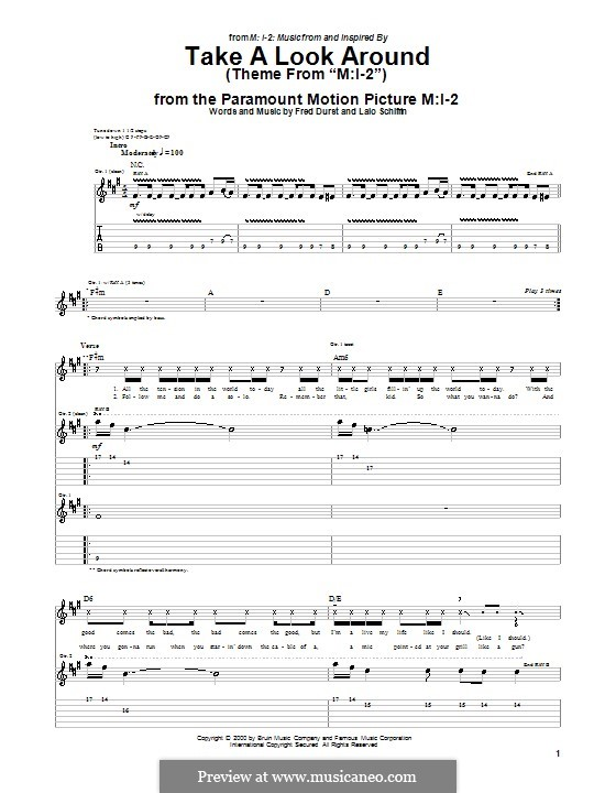 Guitar u00bb Mission Impossible Guitar Tabs - Music Sheets, Tablature, Chords and Lyrics