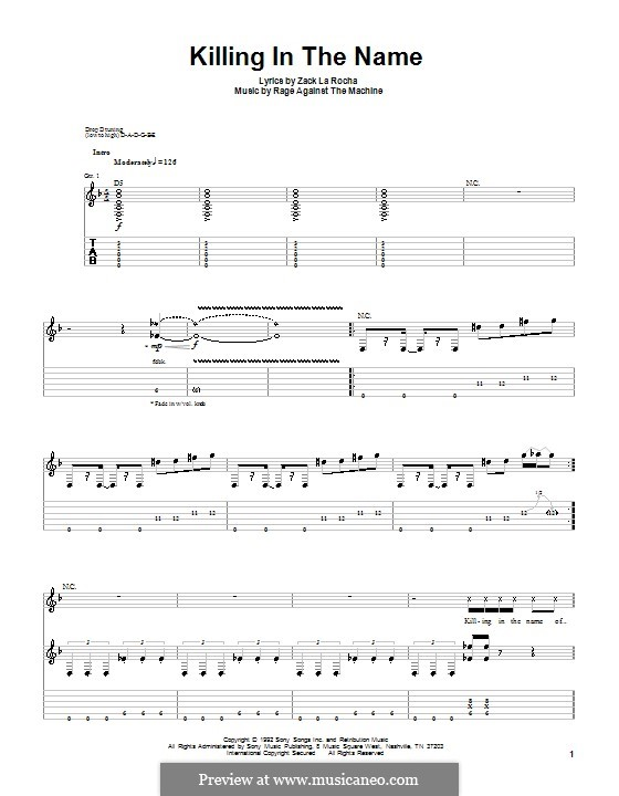 Killing in the name for guitar with tab by rage against the machine