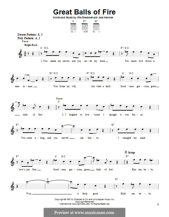 Piano piano tabs great balls of fire : Great Balls of Fire (Jerry Lee Lewis) by J. Hammer, O. Blackwell ...