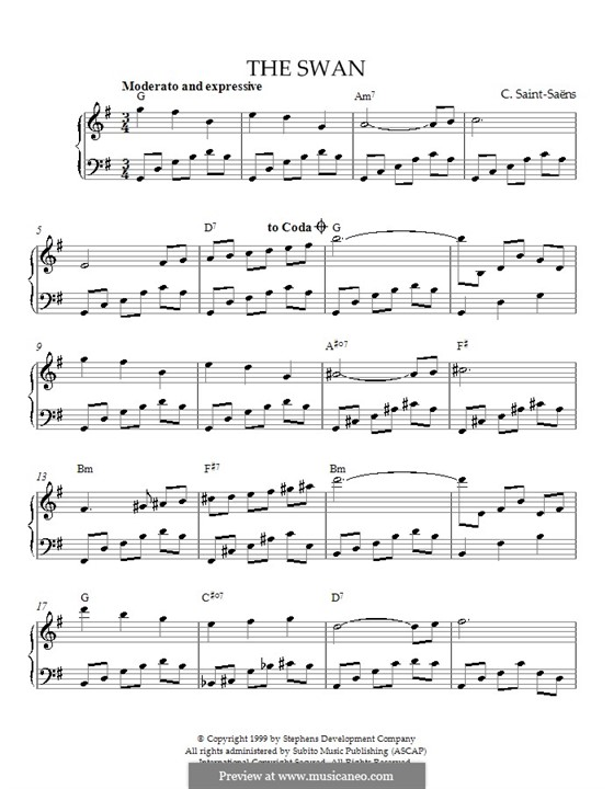 The Swan: For piano (with chords) by Camille Saint-Saëns