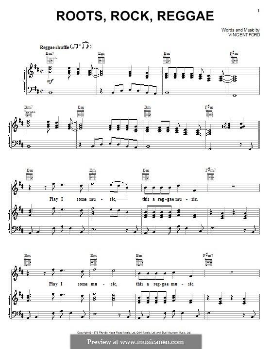 Piano reggae piano chords : Roots, Rock, Reggae (Bob Marley) by V. Ford - sheet music on MusicaNeo