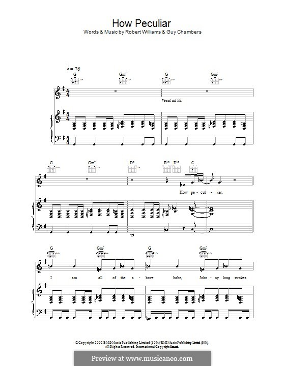 How Peculiar: For voice and piano (or guitar) by Guy Chambers, Robbie Williams