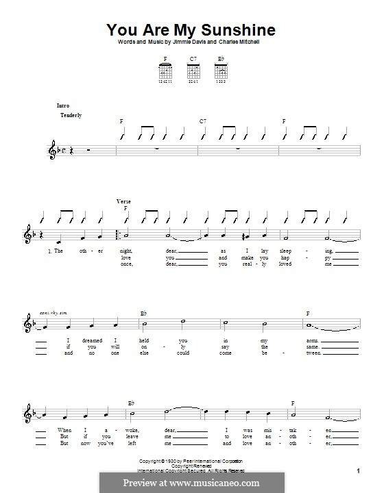 You are My Sunshine by J. Davis - sheet music on MusicaNeo