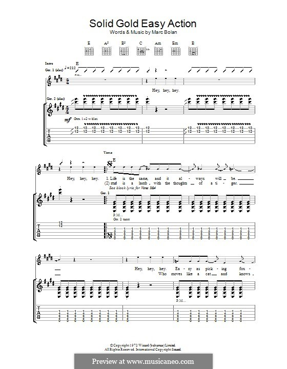 solid gold easy action t rex by m bolan sheet music on musicaneo. Black Bedroom Furniture Sets. Home Design Ideas