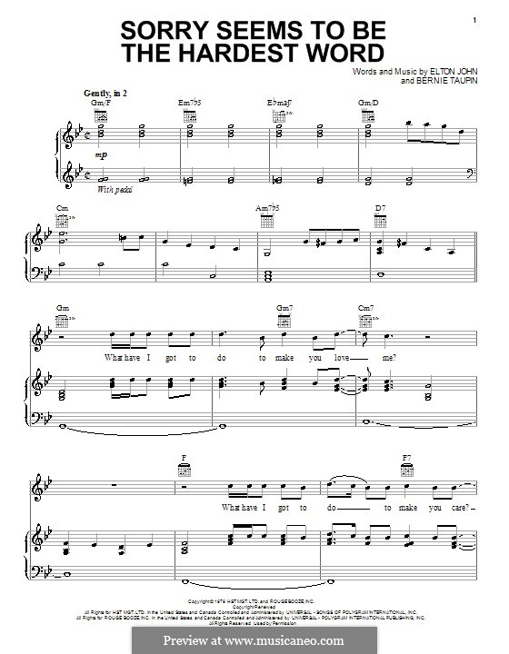 Sorry Seems to be the Hardest Word: For voice and piano (or guitar) by ...