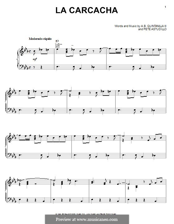La Carcacha (A.B. Quintanilla III): For voice and piano (or guitar) by Pete Astudillo
