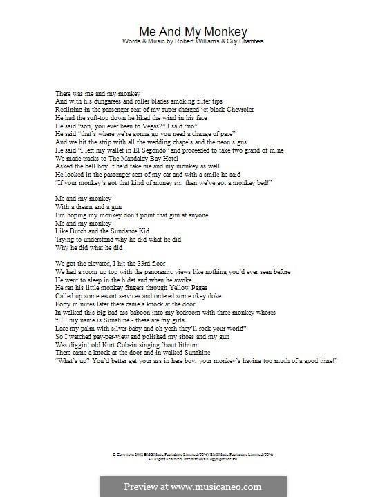 Me and My Monkey: Lyrics only by Guy Chambers, Robbie Williams