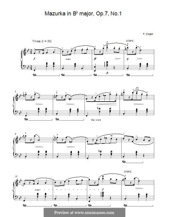 Mazurkas, Op.7: No.1 in B Flat Major by Frédéric Chopin