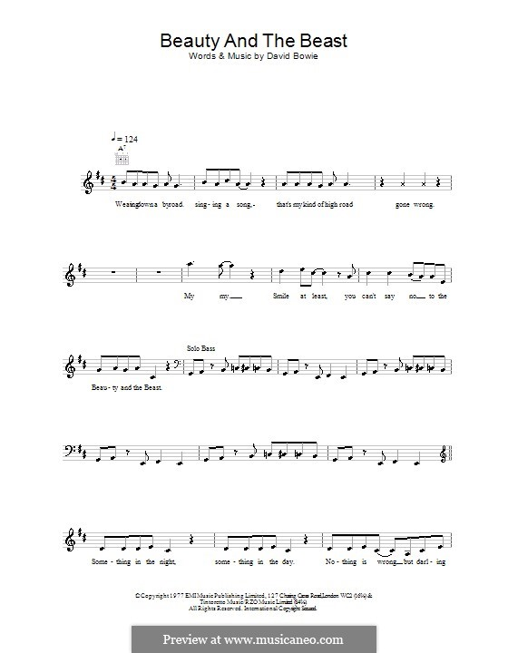 Beauty and the Beast by D. Bowie - sheet music on MusicaNeo
