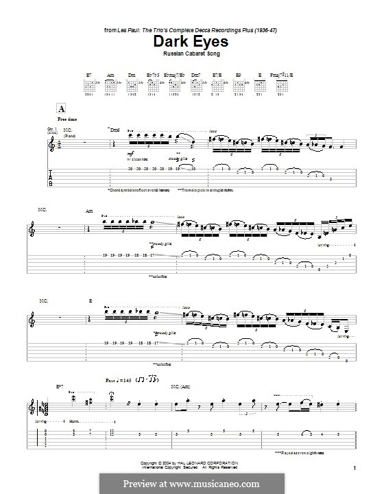 Dark Eyes: For guitar with tab by folklore