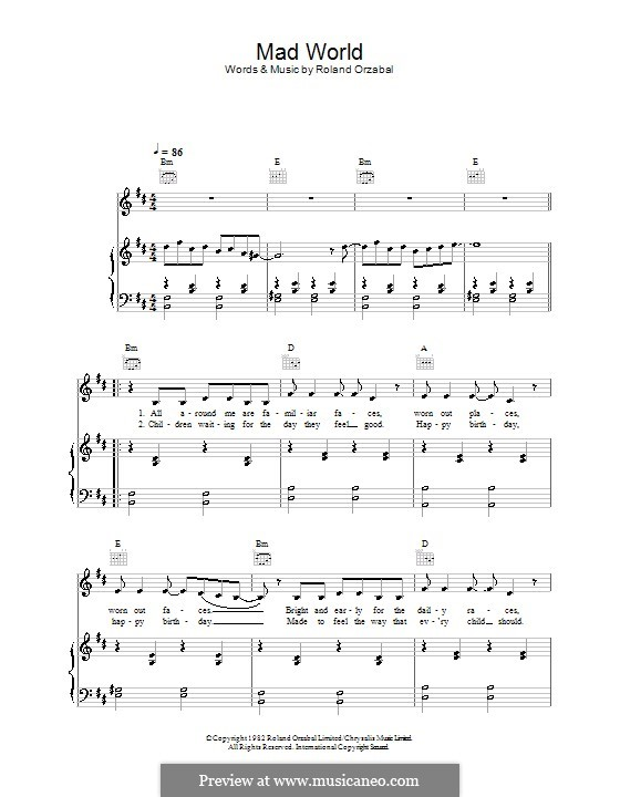Related post of mad world piano tabs