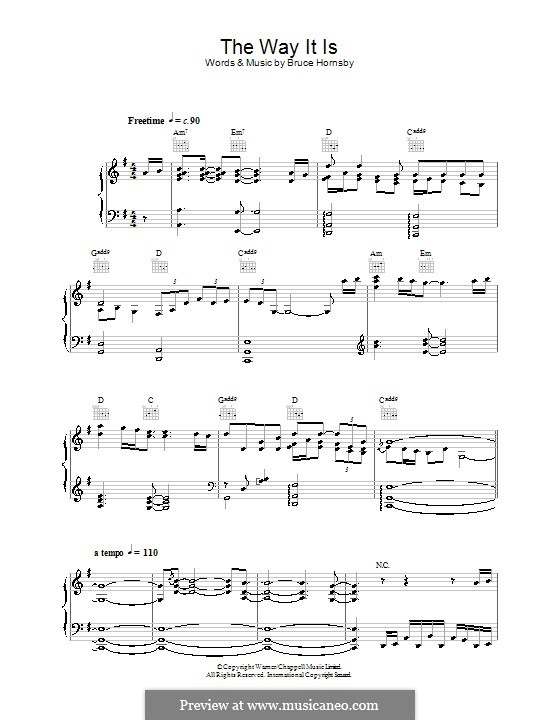 The Way It Is by Bruce Hornsby - sheet music on MusicaNeo Hornsby Way It Is Piano Youtube
