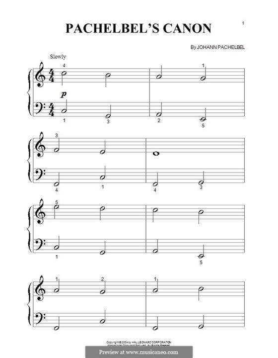 Canon in D Major: Very easy version by Johann Pachelbel