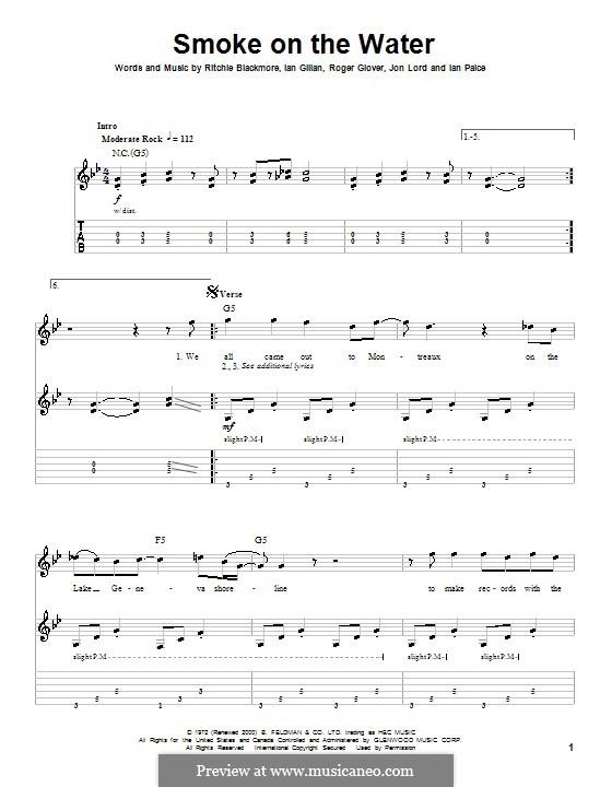 Guitar guitar tabs smoke on the water : Smoke on the Water (Deep Purple) by I. Gillan, I. Paice, J. Lord ...